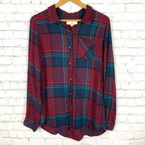 THREAD & SUPPLY Plaid Button Up Long Sleeve L